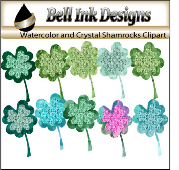 Watercolor and Crustal Shamrock Clipart