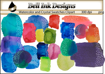 Watercolor and Crystal Swatches Clipart