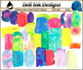 Watercolor and Gold Swatches Clipart