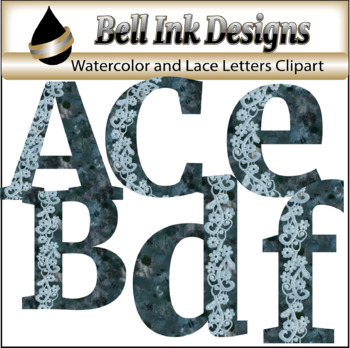 Watercolor and Lace Alphabet Clipart