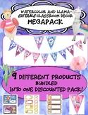 Watercolor and Llama Classroom Decor MegaPack! Editable
