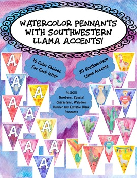 Watercolor and Llama Themed Pennants- Kid Friendly Font!