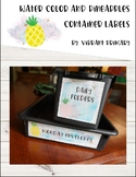 Watercolor and Pineapples *Editable* Container Labels