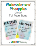 Watercolor and Pineapples Full Page Signs *editable*