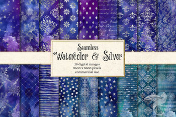 Watercolor and Silver Digital Paper, seamless patterns