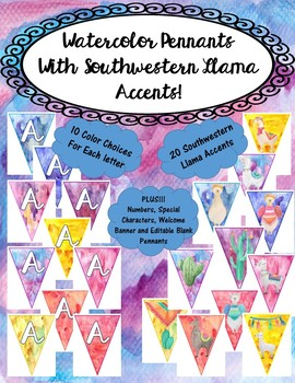 Llama Themed Pennants with Watercolor Background-Fancy Font-Classroom Decor