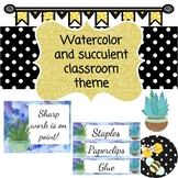 Watercolor and succulent classroom theme