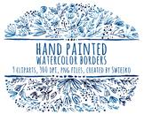Watercolor border, floral edges, lace