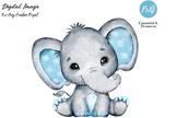 Watercolor boy elephant clip art, very cute little peanut, blue gray polka ears