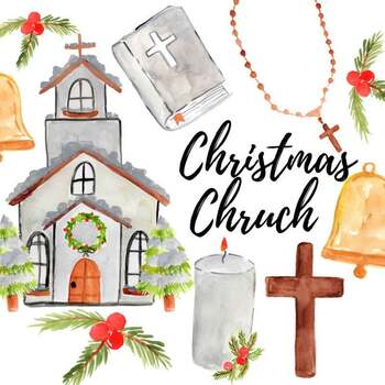 Watercolor christmas church clipart