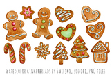 Watercolor christmas gingerbreads, holiday decoration, xmas, gingerbgread man
