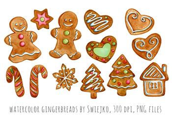 Watercolor christmas gingerbreads, holiday decoration, xmas, gingerbgread man