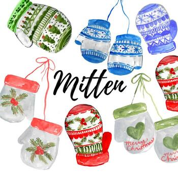 Watercolor christmas winter mittens clipart