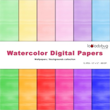 Watercolor digital papers. 6 Soft and 6 Bright colors. 12 Wallpapers.