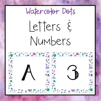Watercolor dots letters and numbers for bulletin board and calendars