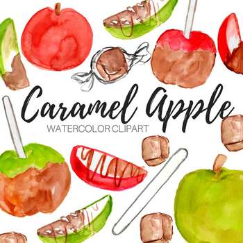 Watercolor Fall Caramel Apple Clipart By Writelovely Tpt