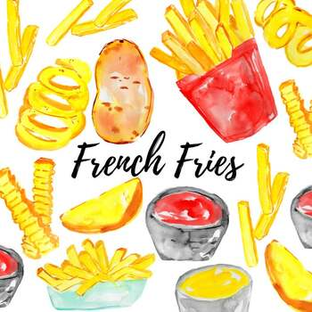 Watercolor fast food french fry clipart