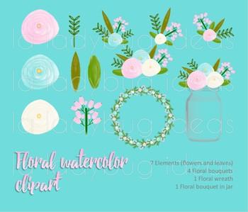 Watercolor floral clip art. Aqua and pink. PNG Files.