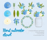 Watercolor floral clip art. Blue and white. PNG Files.