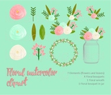 Watercolor floral clip art. Coral and mint. PNG Files.