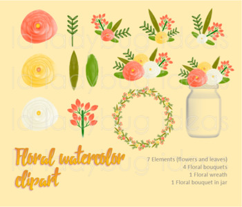 Watercolor floral clip art. Orange and yellow. PNG Files.
