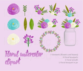 Watercolor floral clip art. Purple and turquoise. PNG Files.