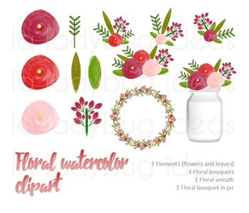 Watercolor floral clip art. Red and coral. PNG Files.