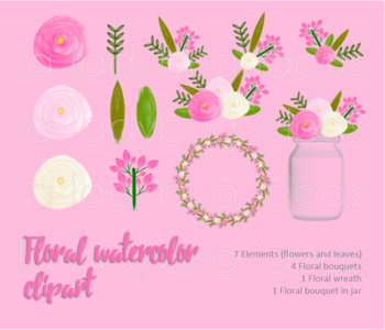 Watercolor floral clip art. White and pink. PNG Files.