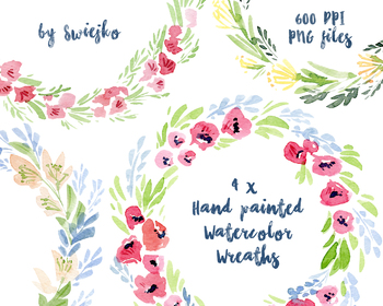 Watercolor floral frames, flower wreath