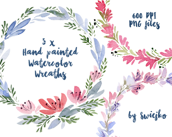 Watercolor floral frames, flower wreath, poppies