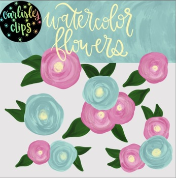 Watercolor flowers clip art set with matching digital paper