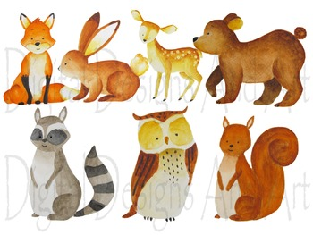Watercolor forest animals clipart, Woodland Animal clipart, Animals illustration