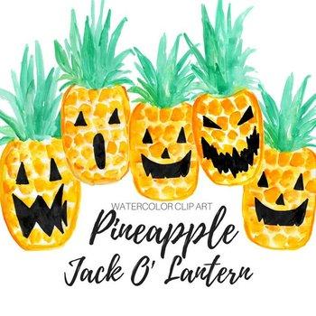 Watercolor halloween Pineapple Jack O' lantern Clipart
