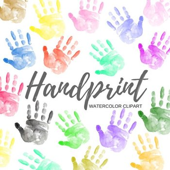 Watercolor hand print clipart