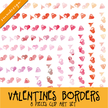 Watercolor hearts - Border clipart - Valentine's Day