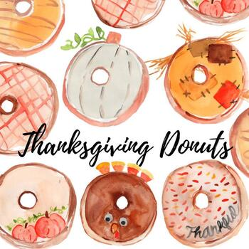 Watercolor hoilday food thanksgiving donuts
