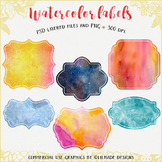 Watercolor label clipart, watercolor tags, label clipart