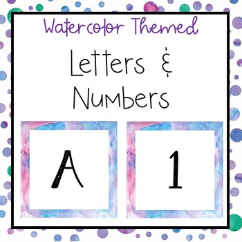 Watercolor letters and numbers for bulletin board, calendars, & class management