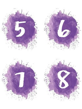 Watercolor numbers 1 to 32 - PDF version