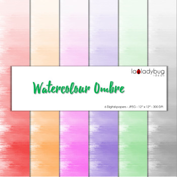 Watercolor ombre effect digital papers. Bright colors. Wal