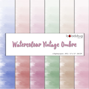 Watercolor ombre effect digital papers. Vintage colors. Wa