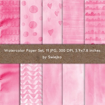 Watercolor paper set, pink, valentines cards, love, hearts, dots #58