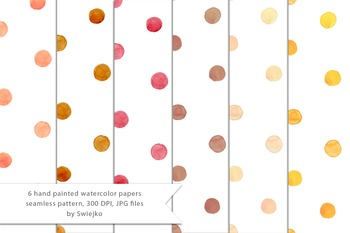 Watercolor seamless papers, polka dots, kids pattern #13