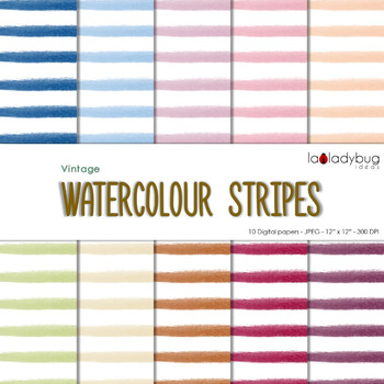 Watercolor stripes digital papers. Bright colors. Wallpapers. Backgrounds.
