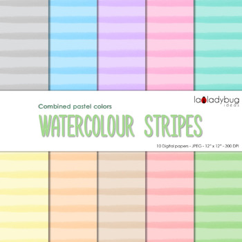 Watercolor stripes digital papers. Pastel colors. Wallpapers. Backgrounds.