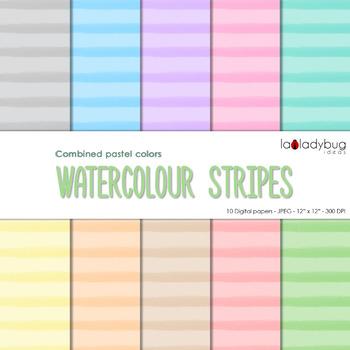 Watercolor stripes digital papers. Pastel colors. Wallpape