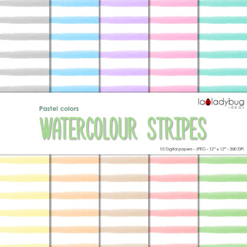 Watercolor stripes digital papers. Pastel. Wallpapers. Bac