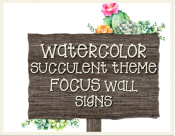 Watercolor succulent focus wall signs