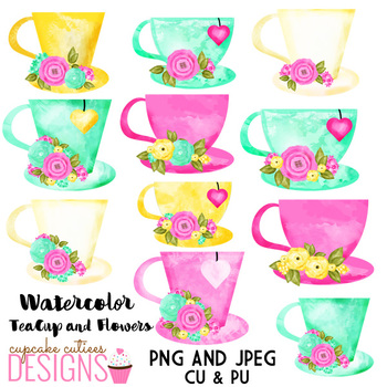 Watercolor tea cup with flowers - Tea Party Digital Clip Art