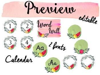 Watercolor watermelon classroom decor and theme